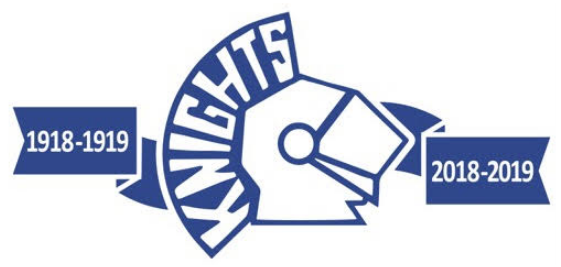 Irvington Blue Knights logo for 100 years of Athletics