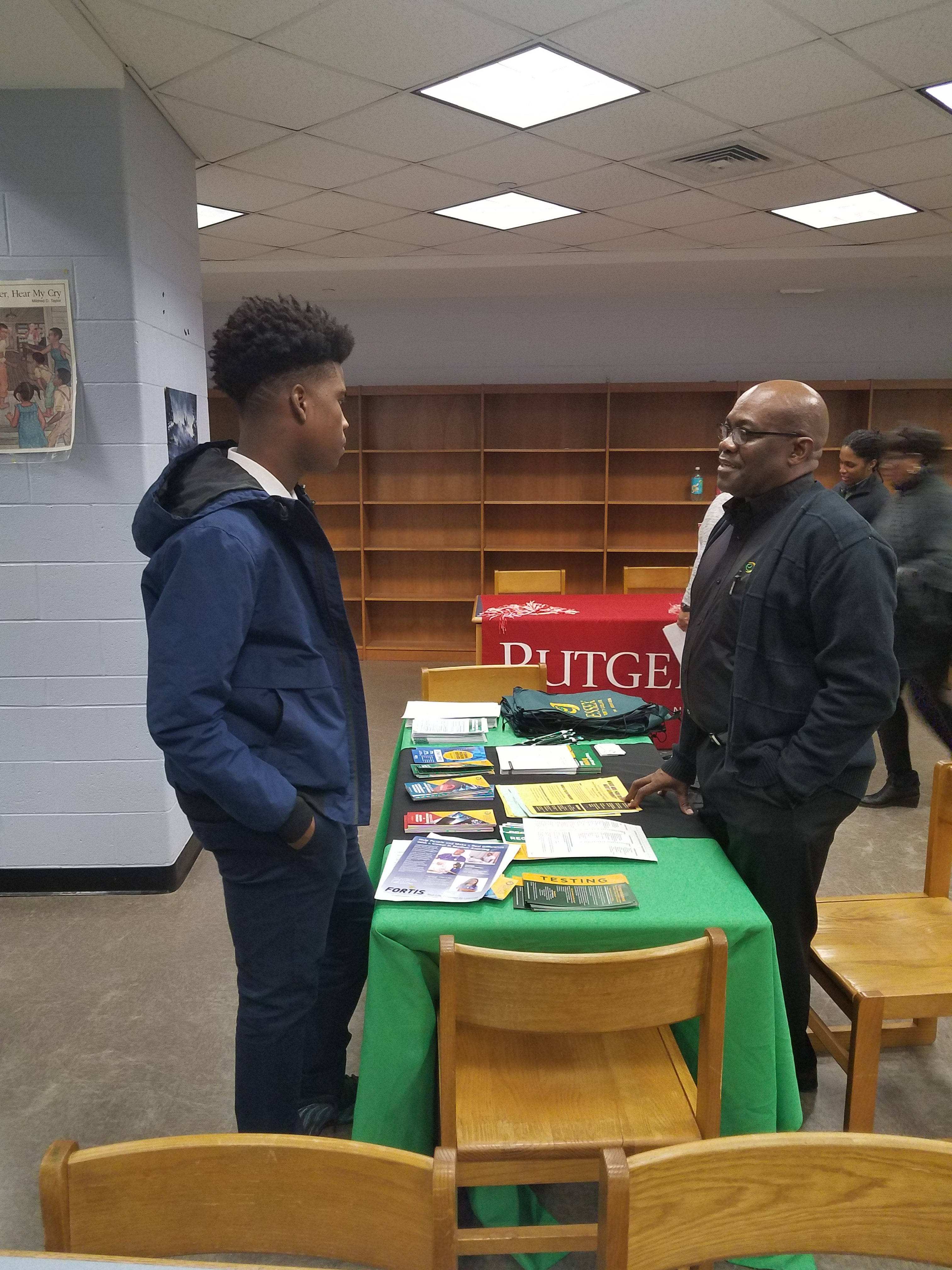 A BKA student getting information from an Essex County College representative.
