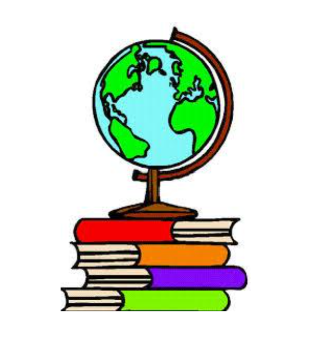 decorative globe over books