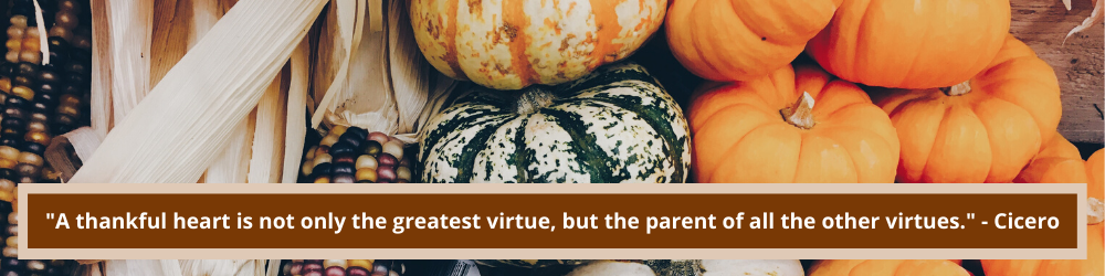 A thankful heart is not only the greatest virtue, but the parent of all the other virtues. -Cicero