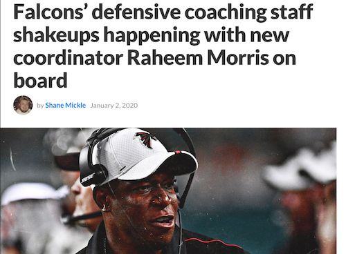 Falcons' defensive coaching staff shakeups happening with new coordinator Raheem Morris on board