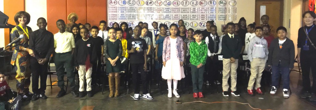 Image of the the participants in the Black History Month Program (Florence Avenue School)