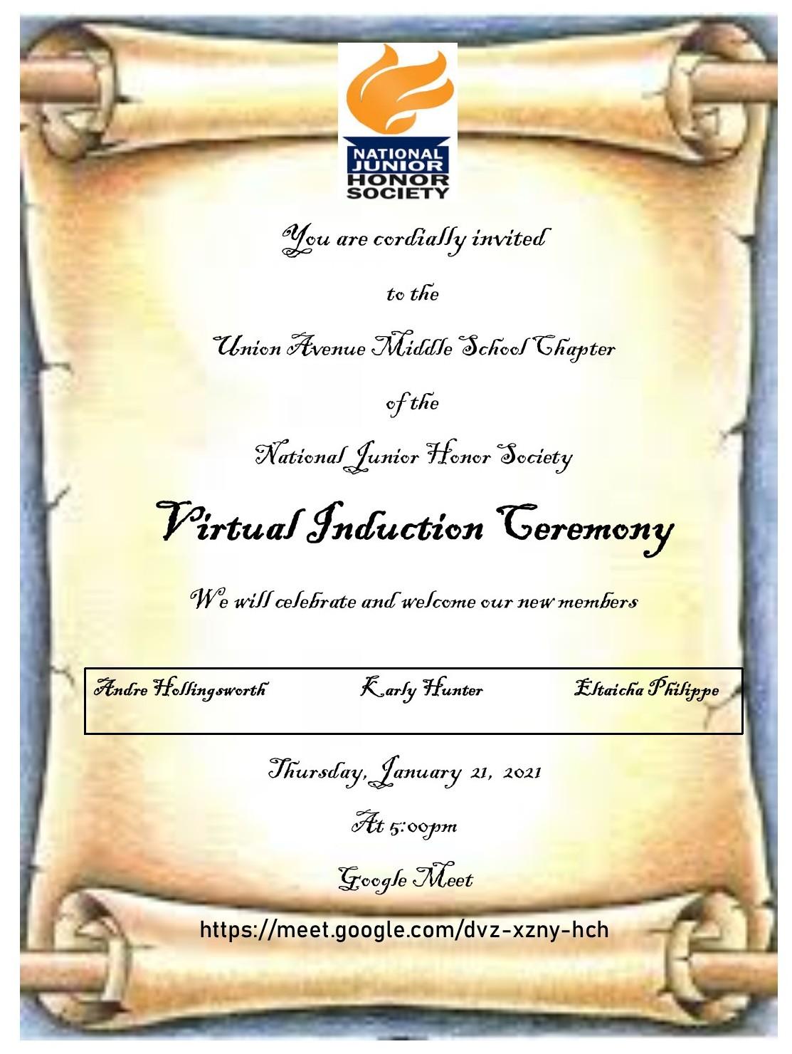 20-21 NJHS Invitation Virtual
